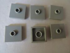LEGO PART 87580 LIGHT BLUISH GREY MODIFIED PLATE WITH 1 STUD IN CENTER x 6