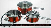3pc Saucepan Set Stainless Steel Cookware Pot Glass Lids Sauce Milk Pan Orange