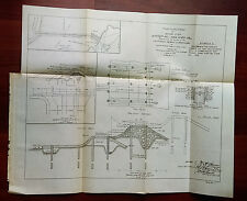 1905 Sketch Diagram Map  Barrier of Yuba River California Debris Commission