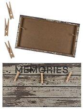 Memoboard Memotafel Wand-Schild Vintage MEMORIES Retro Holz Leinen Bilder Memos