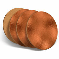 4 Set - Copper Effect Design Metal Glossy Coasters - Kitchen Drinks Gift #3212
