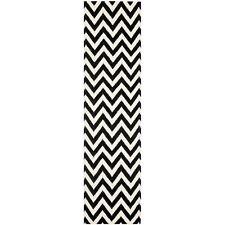 """Safavieh Black/ Ivory Flat weave Wool Runner Rug 2' 6"""" x 8'"""