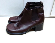 Clarks Women's Leather Brown Block Heel Chelsea Boots Square Toe Winter Shoes 7M