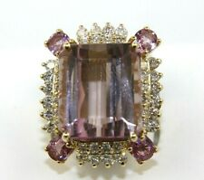 Emerald Cut Morganite, Pink Sapphire & Diamond Halo Ring 14k Yellow Gold 23.87Ct