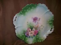 SCALLOPED EDGE GREEN BOWL PINK PURPLE FLOWERS GOLD TRIM GERMANY ? ANTIQUE ?