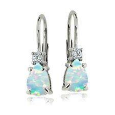 Sterling Silver Created White Opal & White Topaz Teardrop Leverback Earrings