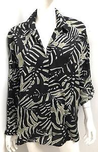 As New! WITCHERY black leaf print Organic Linen top ~ sz 14+