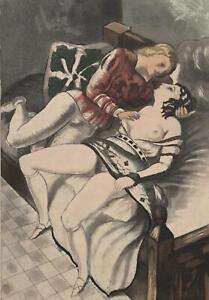 BERTHOMME SAINT ANDRE :  Le coquin et la dame - Lot de 2 EAUX FORTES, 1931