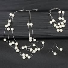Bridal Jewelry Set Pearl Beaded Multilayer Necklace Earring Bracelet Set Jewelry