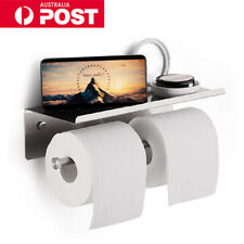 Double Toilet Paper Roll Holders Tissue Rack Rail Storage Shelf Stainless Steel