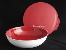 FREE SHIP Tupperware Chic Dining 3.5 L/ 15 Cup Bowl w/Seal serve limited NEW Red
