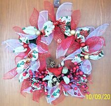 RED CARDINAL BIRD WREATH WALL DOOR HANGING OFFICE WINTER DECORATION- HOLIDAY 21""