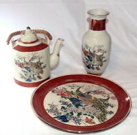 Vintage Japan SatsumaTeapot,Vase& Plate w/ peacocks floral goldLot of 3 Pieces