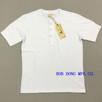 Men's Tee BOB DONG Vintage Short Sleeve Cotton Henley Shirts Ribbed Cuffs White