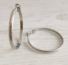 316L Surgical Stainless Steel Post Back Hoop Patterned Earrings 38mm