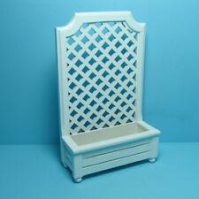 Dollhouse Miniature White Wood Trellis Flat Top with Flower Box T5465