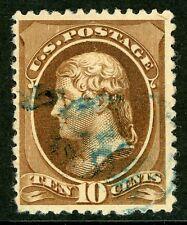 Usa 1882 Jefferson 10¢ Brown Scott #209 Vfu O594