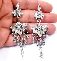 Rhinestone Chandelier Earrings Bridal Wedding Jewelry Pageant Prom Clear 3.3 in