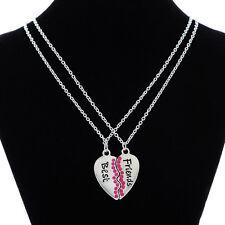 Fashion Broken Heart Rose Rhinestone 2 Parts Best Friends Pendant Chain Necklace