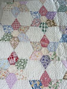 """Vintage Cutter Quilt Piece 28""""X34"""" Star/flower"""