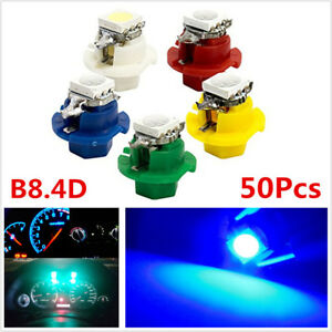 50Pcs T5 B8.4D 5050 1SMD LED Indicator Gauge Dashboard Dash Side Light Bulbs 12V