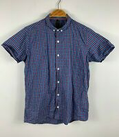 Nudie Jeans Mens Button Up Shirt Size Small Slim Fit Short Sleeve Blue Red Plaid