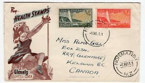 New Zealand 1951 Normanby CDS - Glenelg / Health Stamps - FDC Cover to Canada