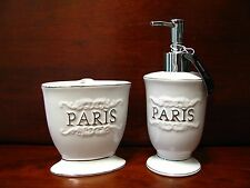 Paris White Bathroom Accessory Set.2 pieces. Brand New. Lovely gift or Keepsake.