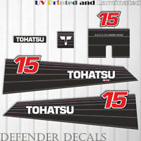 TOHATSU  15 hp Two Stroke outboard engine decal sticker set kit reproduction