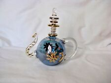 "Tea Pot Hand Blown Egyptian Glass Gold Accent Perfume Bottle Gift 5"" # 78"