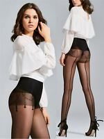 Fiore Love Patterned Tights with Back Seam 20 Den New