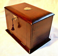 Late Victorian/Edwardian Stationery Box with Inkwell and Key