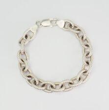 rope oval link bracelet Italy Elegant vintage sterling silver twisted