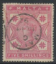 MALTA 1886 CROWN CC SG30 USED CAT £80+