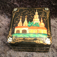 """VINTAGE PAHLEK LACQUER PAINTED SQUARE BOX """"SUZDAL MONASTERY"""""""