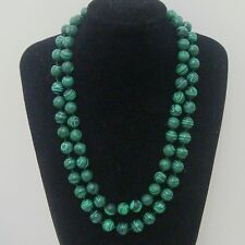 necklace 36 Inch Aaa 12Mm Green Malachite Gemstone