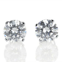 2 Ct D/VVS1 Stud Earrings Simulated Diamond Round 14K White Gold Jewelry