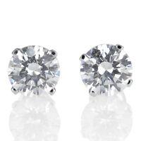 2 Ct D/VVS1 Stud Earrings Simulated Diamond Round 18K White Gold Women's Jewelry