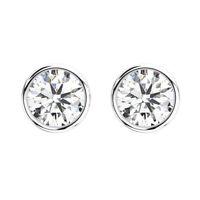 Bezel Set Round Brilliant Cut Diamonds Stud Earring in Platinum