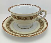 Vintage Meito China Asama Shape Cup and Saucer Set Gold Trim