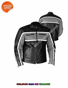 Classic bike leather jacket in black and grey accross chest armoured jacket sale