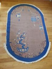 Antique Old Art Deco Chinese Rug Bats Bonsai Lanterns Hand Knotted Wool 4X7 Oval
