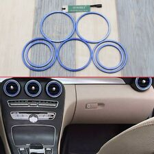 7 Pieces Air Vent Outlet Ring Trim for Mercedes Benz C Class W205 2014-2017 Blue