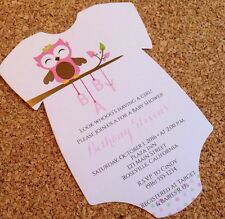 20 Baby Shower Invitations - Onesie with Pink Baby Girl Owl
