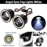 "Pair 2.5/3/3.5 ""White LED Car Halo Rings Angel Eyes COB Projector Fog Light"