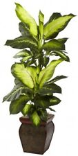 Artificial Plant 45 in. H Golden Dieffenbachia with Decorative Wood Planter