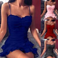 KQ_ Women Sexy Drawstring Ruched Lacing Ruffled Hem Mini Sling party Date Bar Dr