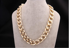 Large Gold Plated Chunk Curk Link Chain Woman Man Necklace N498