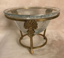 "CRACKLE GLASS ~ SOLID BRASS CANDLE VOTIVE HOLDER 6.5"" x 5"""