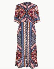 Neue m&s Schal Shirt Kleid Print Sommer Vintage Style Midi m&s Größe 12